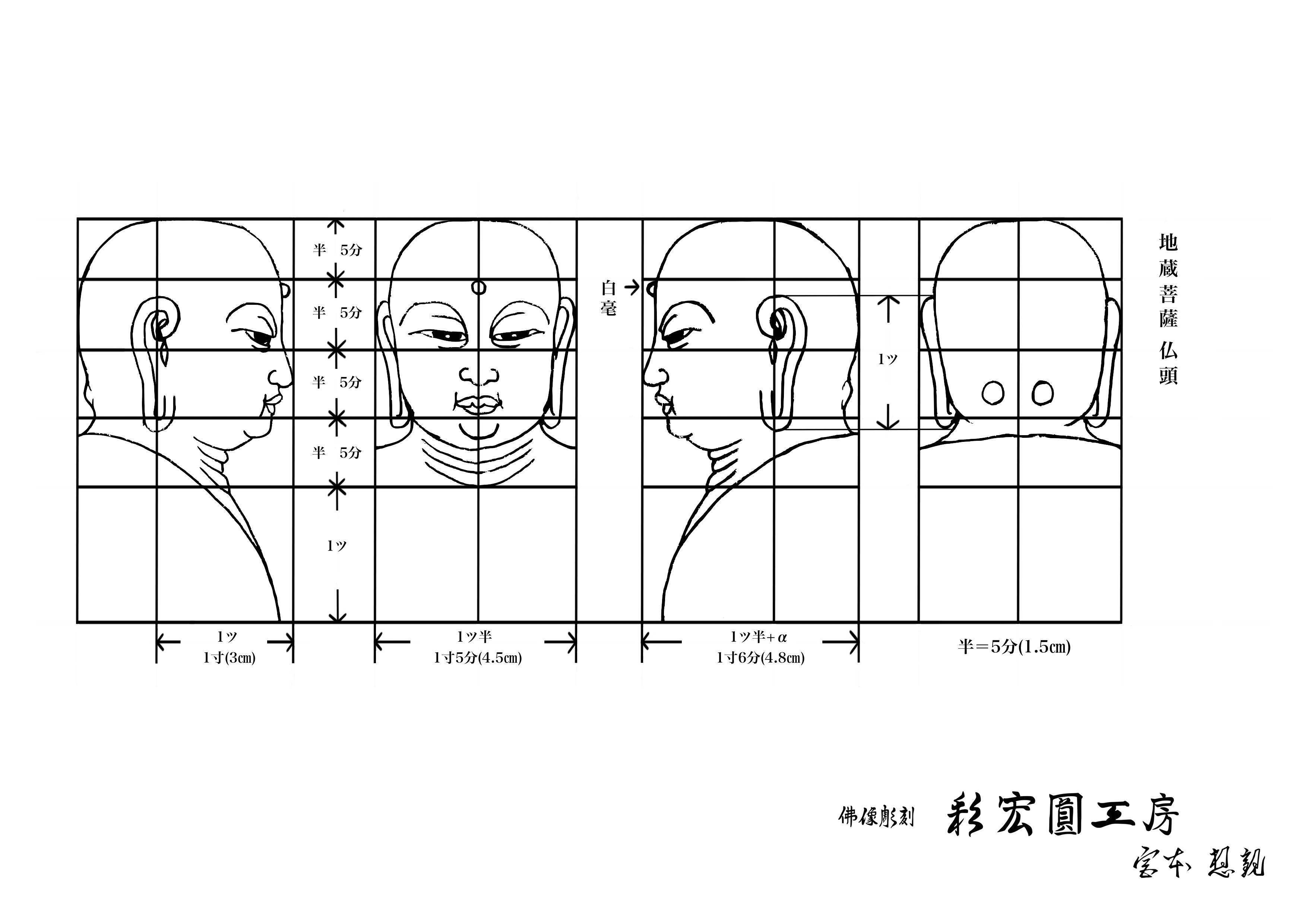 仏像、地蔵菩薩の仏頭の下絵・図面