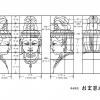 仏像・観音菩薩の仏頭の下絵・図面画像