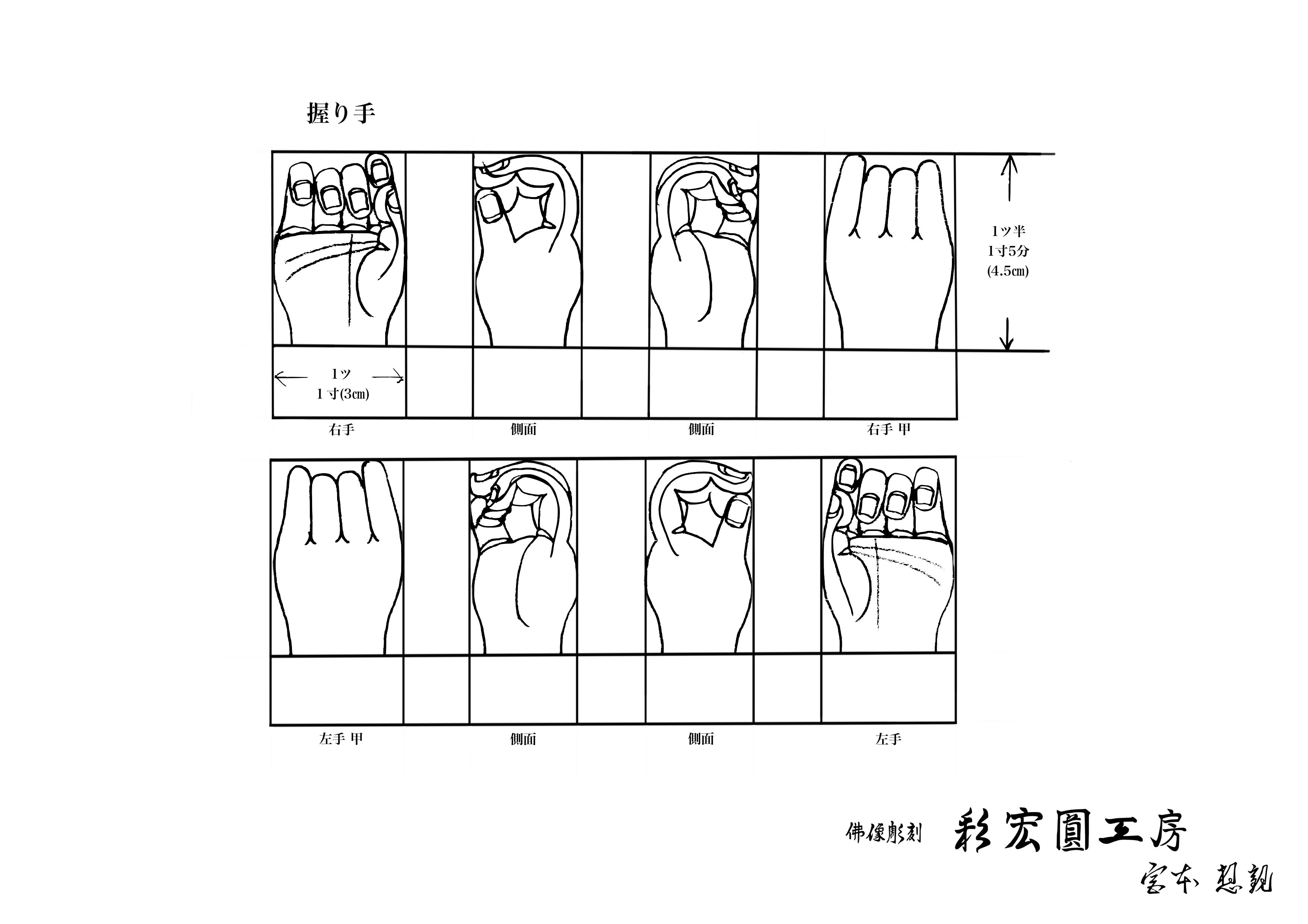 仏像の握り手の図面と下絵